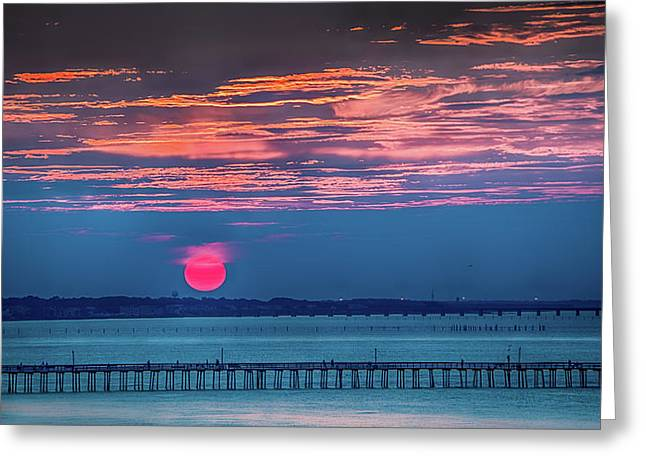 Red Setting-sun Over The Lynnhaven Fishing Pier Greeting Card by Robert Anastasi