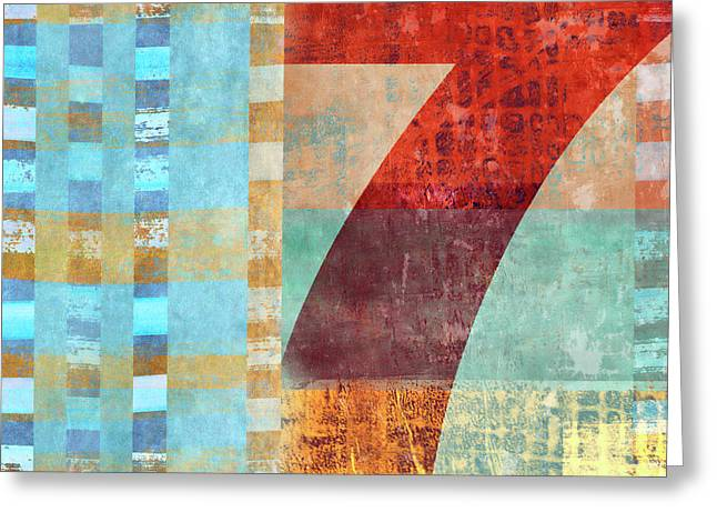 Red Seven And Stripes Mixed Media Greeting Card by Carol Leigh
