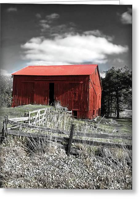 Red Shack Landscape Greeting Card by Joan  Minchak