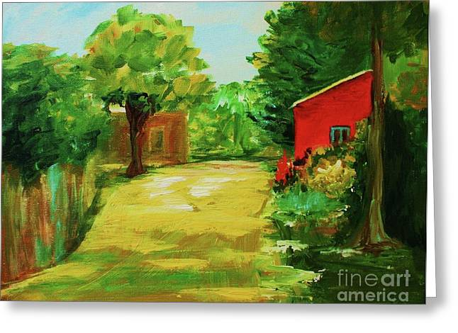 Red Shed Greeting Card by Julie Lueders