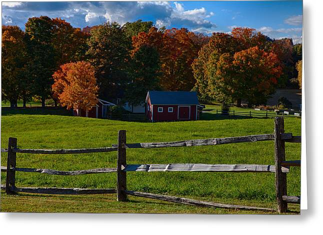 Red Sheds And Orange Fall Foliage Greeting Card