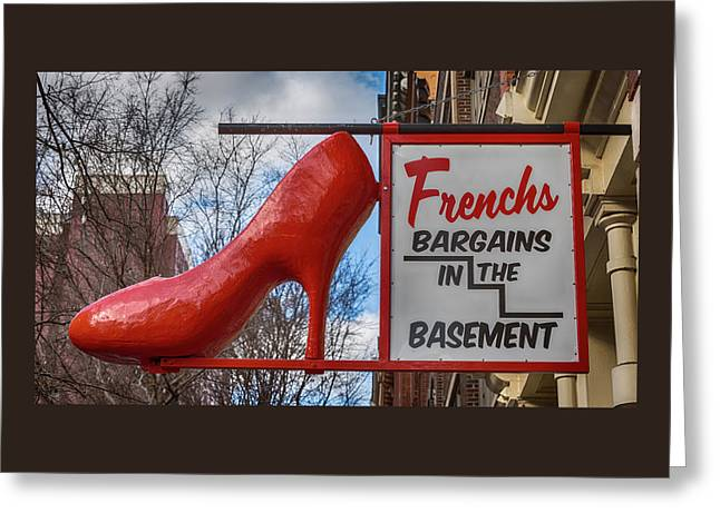 Red Shoe Bargains Greeting Card by Stephen Stookey