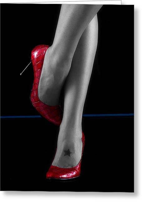 Red Shoes Greeting Card by Sergio Bondioni