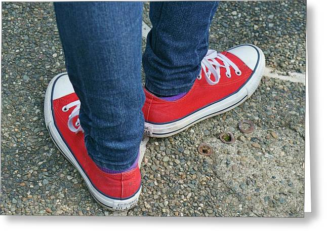 Red Shoes Waiting Greeting Card by Deb Zulawski