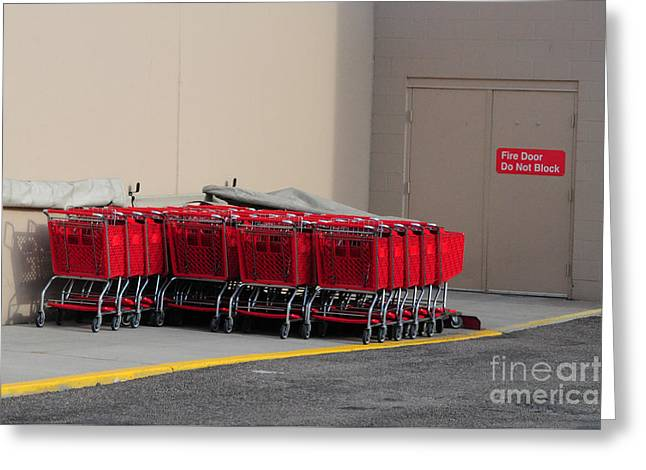 Red Shopping Carts In A Row Greeting Card by Merrimon Crawford