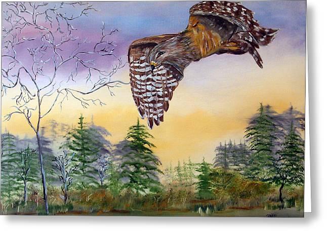 Red Shouldered Hawk Greeting Card by Mikki Alhart