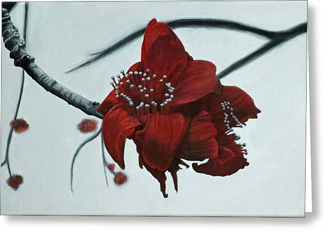 Red Silk Cotton Flower Greeting Card