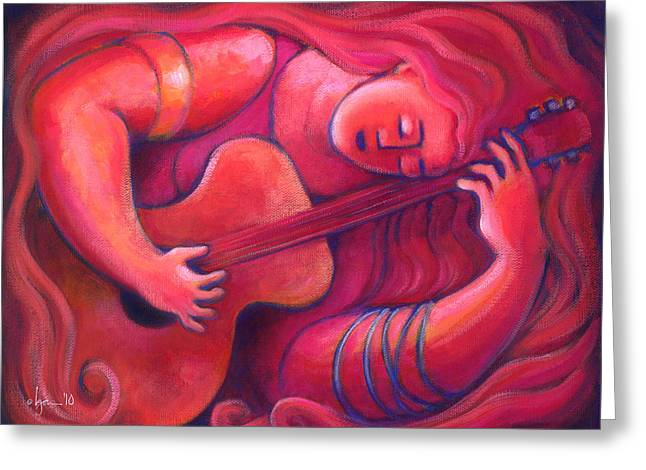 Red Sings The Blues Painting 43 Greeting Card by Angela Treat Lyon