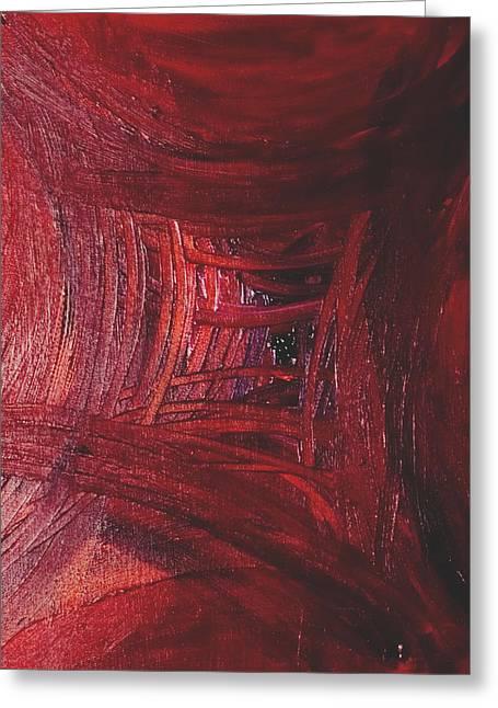 Red Skewed Squares Greeting Card by Melissa Moore