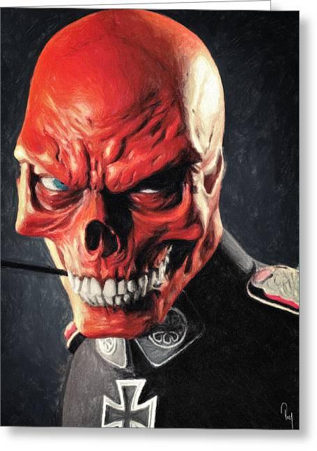 Red Skull Greeting Card by Taylan Apukovska