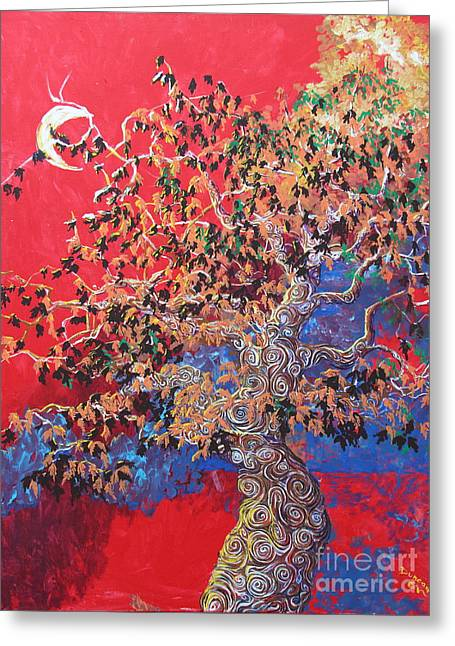 Red Sky And Tree Greeting Card