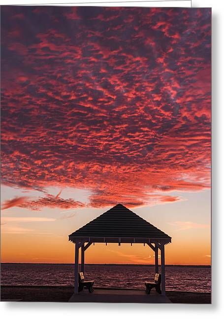 Red Sky At Night Gazebo Seaside New Jersey Greeting Card by Terry DeLuco