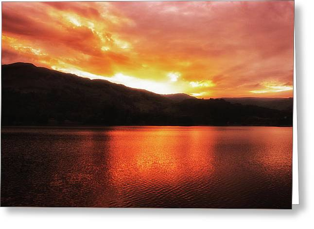 Red Sky At Night Greeting Card by Martin Newman