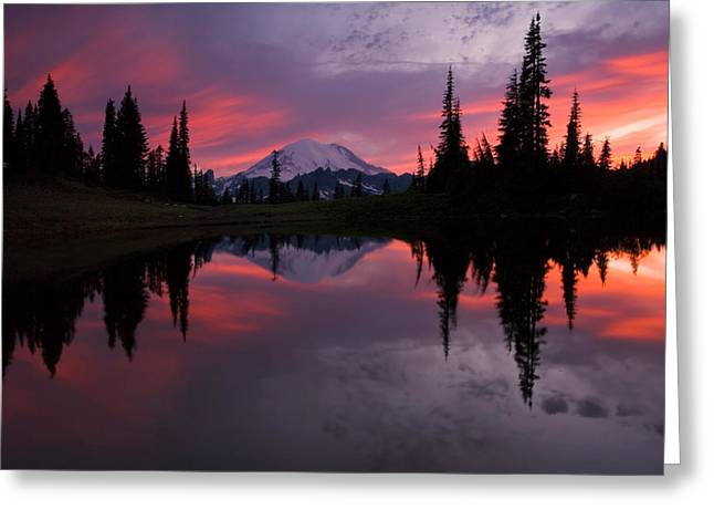 Mountain Greeting Cards - Red Sky at Night Greeting Card by Mike  Dawson