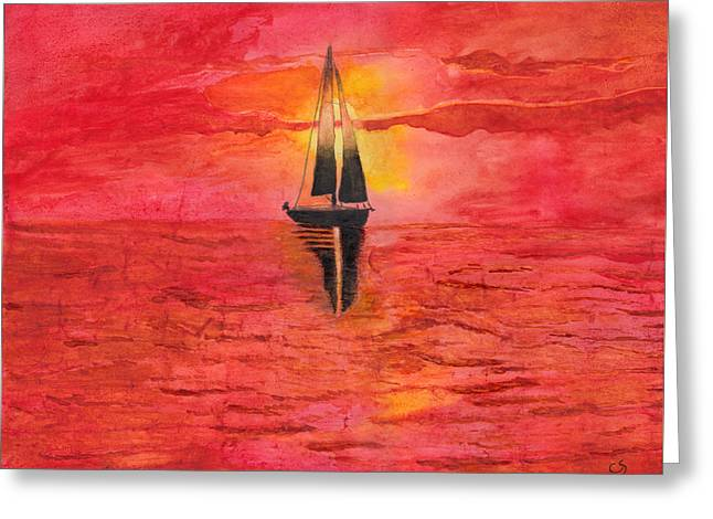 Red Sky At Night Sailors Delight Watercolor Greeting Card