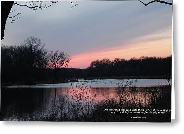 Red Sky Greeting Card by Cliff Ball