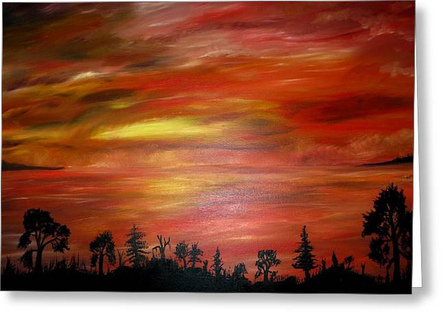 Red Sky Delight Greeting Card by Michael Schedgick