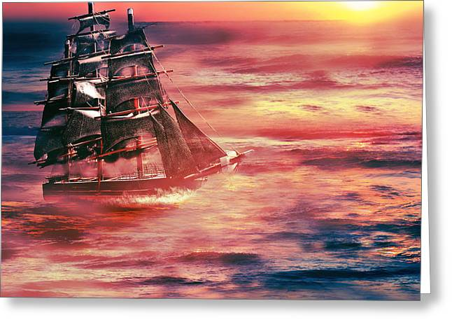Red Sky In The Morning.... Sailors Take Warning Greeting Card by Gray  Artus