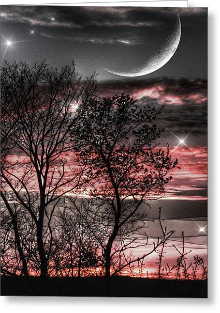 Red Sky Moon Greeting Card by Marianna Mills