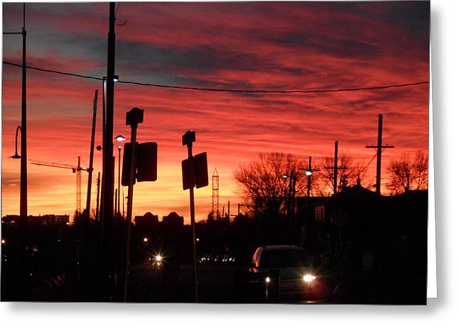 Red Sky Morning Greeting Card by Mark Lehar