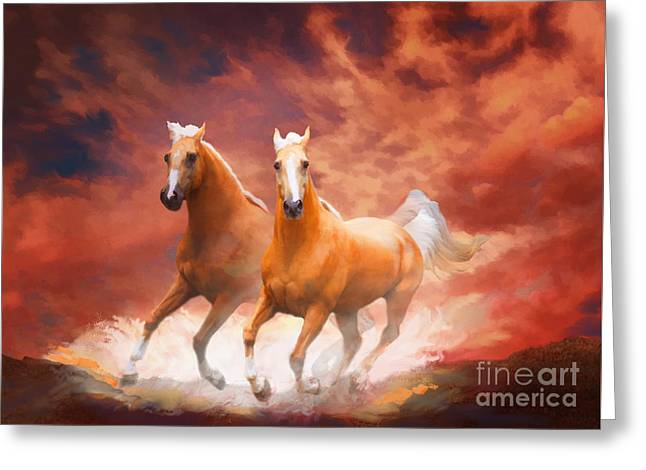 Greeting Card featuring the painting Red Sky Run by Melinda Hughes-Berland
