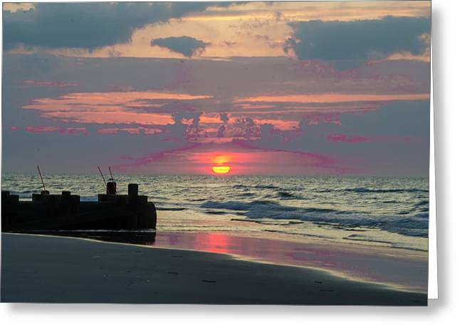 Red Sky Sun Rise Greeting Card by Bill Cannon