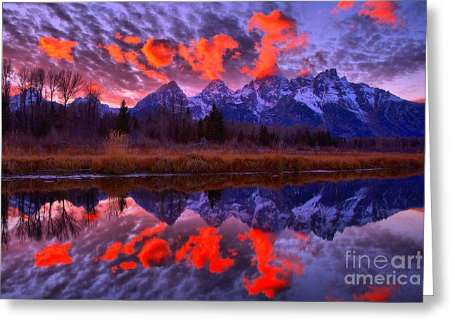 Red Snake River Sunset Reflections Greeting Card
