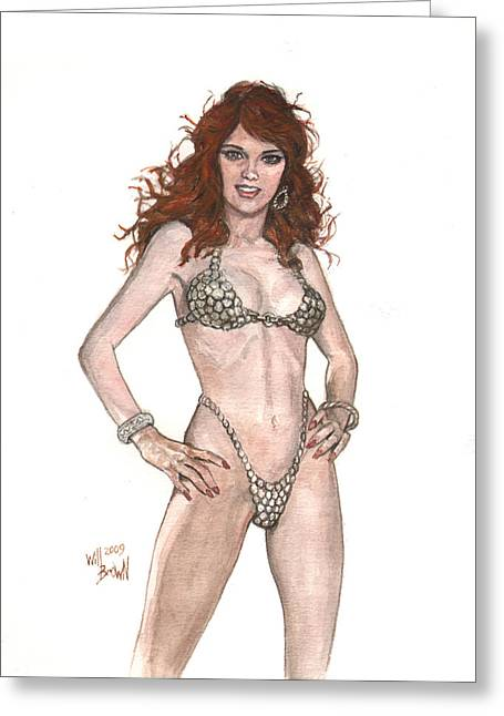 Red Sonja Pinup Greeting Card by Will Brown