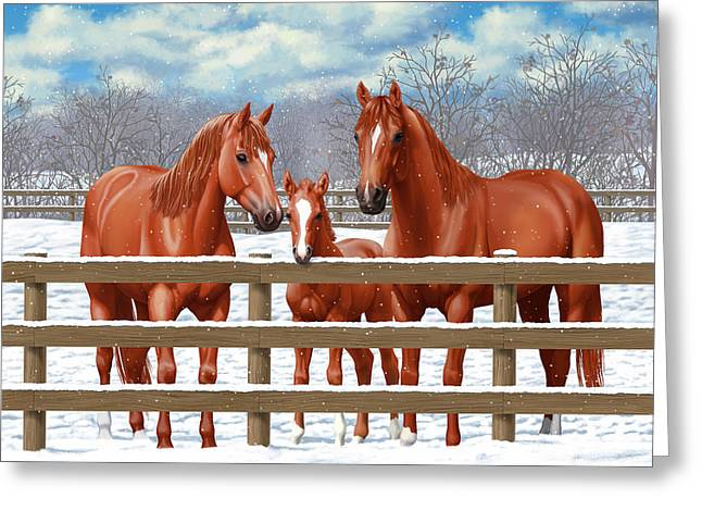 Red Sorrel Quarter Horses In Snow Greeting Card