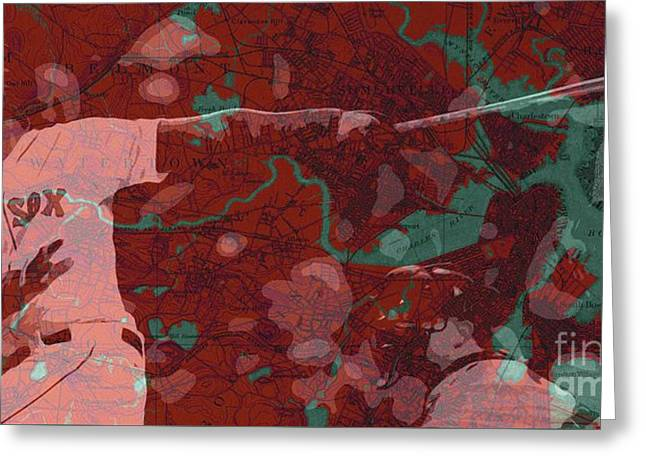 Red Sox Baseball Player On Boston Harbor Map Greeting Card by Pablo Franchi