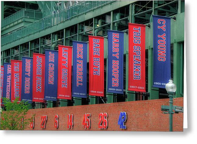 Red Sox Hall Of Fame Banners - Fenway Park Greeting Card by Joann Vitali