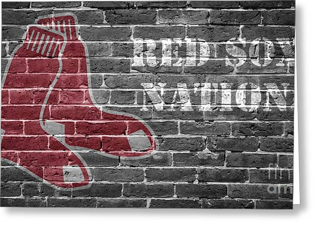Red Sox Nation Greeting Card by Edward Fielding