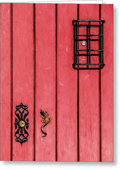Red Speakeasy Door Greeting Card