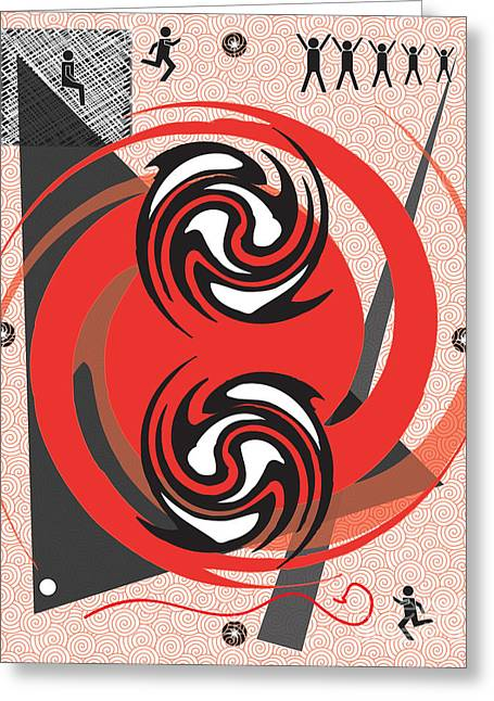 Red Spirals Greeting Card