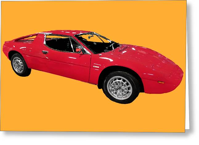 Red Sport Car Art Greeting Card