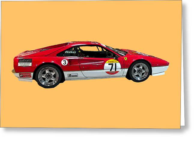 Red Sports Racer Art Greeting Card