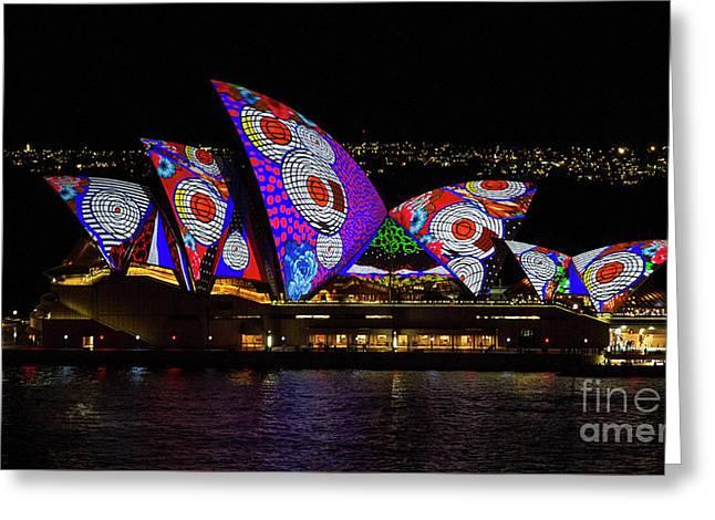 Red Spot Sails - Sydney Vivid Festival Greeting Card