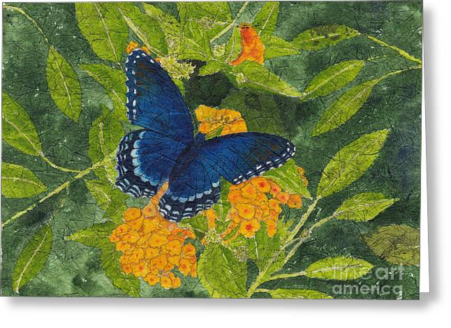 Red Spotted Purple Butterfly Batik Greeting Card