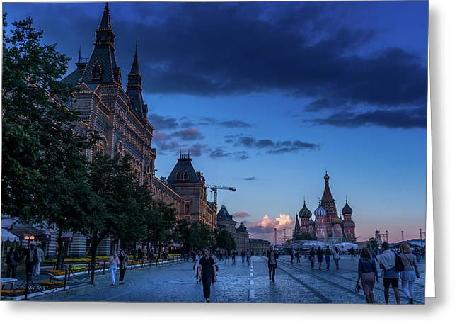 Red Square At Dusk Greeting Card