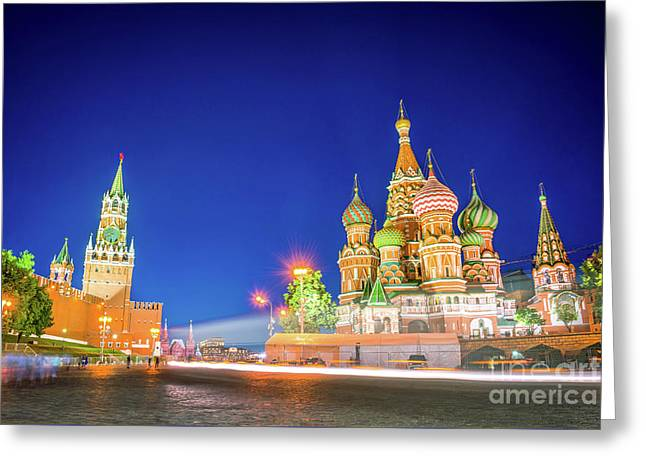 Red Square At Night Greeting Card