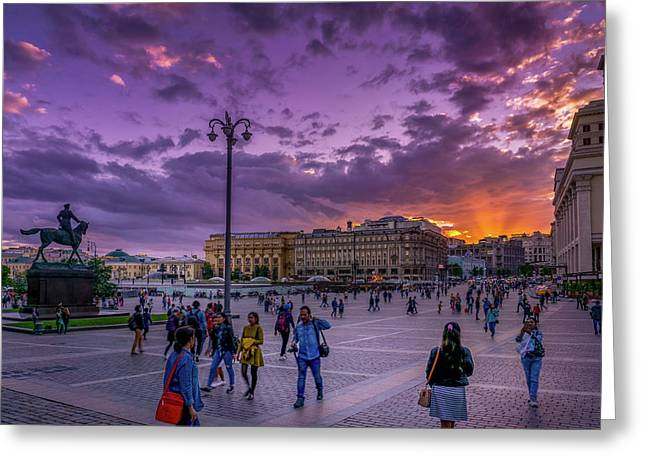 Red Square At Sunset Greeting Card