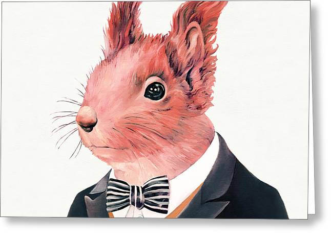 Red Squirrel Square Greeting Card