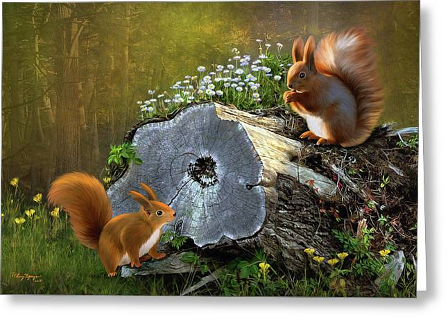 Greeting Card featuring the digital art Red Squirrels by Thanh Thuy Nguyen