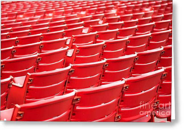 Red Stadium Seats Greeting Card by Paul Velgos