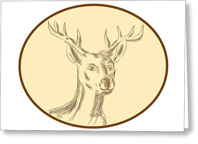 Red Stag Deer Head Circle Etching Greeting Card
