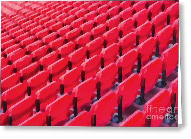 Red Stadium Seats Greeting Card by Edward Fielding