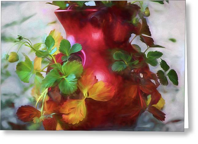 Red Strawberry Pot Greeting Card by Bonnie Bruno