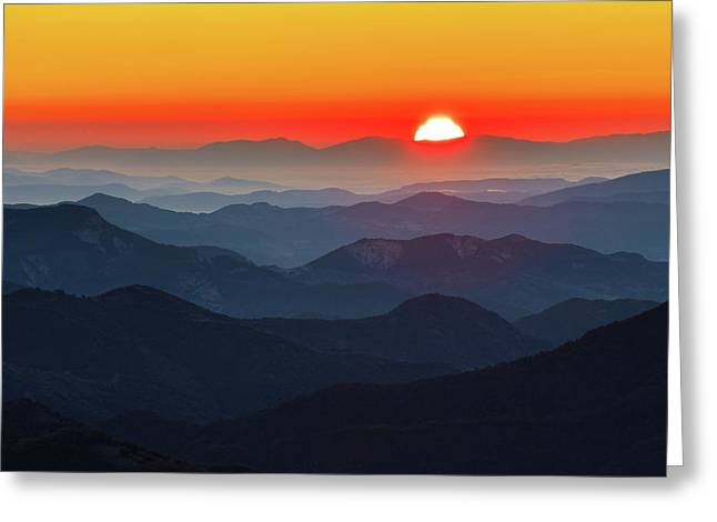 Red Sun In The End Of Mountain Range Greeting Card