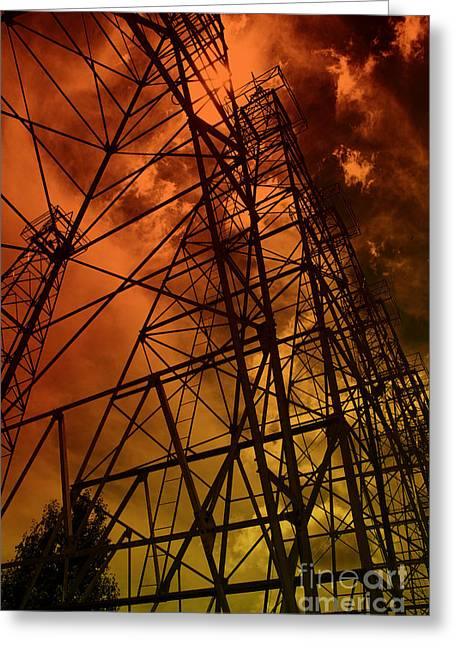 Red Sun Oil Well Greeting Card