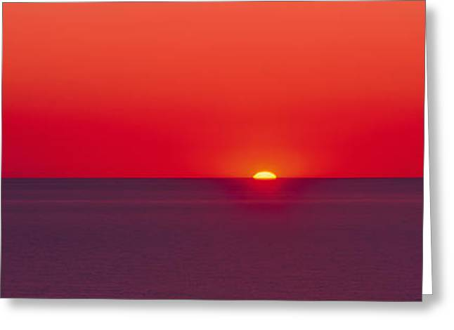 Red Sunrise Of Lake Michigan Greeting Card by Panoramic Images